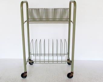 Vintage Vinyl Record Storage Rack Metal Wire Rolling Cart LP 45s 33s Sage Green