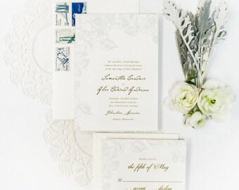 Rose Champagne Press Wedding Invitation Suite