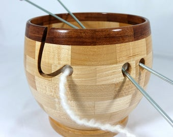Larger Wooden Hard Maple Knitting Bowl, Lathe Turned, Segmented, Tigerwood Rim, As Seen In Knit Wear and Interweave Magazines