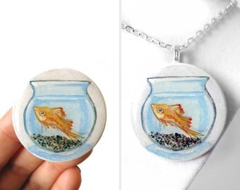 Fishbowl Necklace, Pet Fish Bowl Pendant, Swordtail, Hand Painted Wood Jewelry, Goldfish Art Resin, Original Painting, Orange Fish
