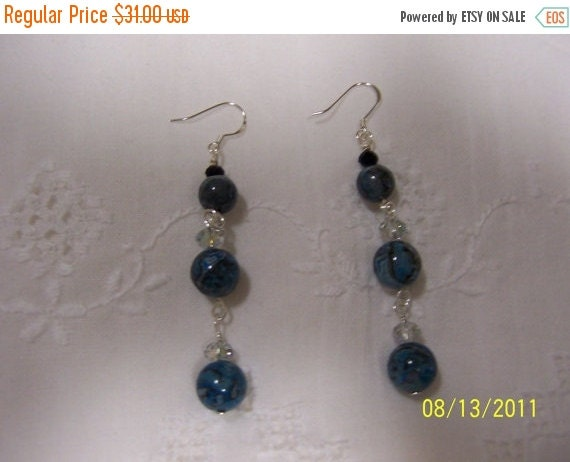 20% OFF SUMMER SALE Blue Lagoon Lace agate, crystal and glass earrings. sterling silver.
