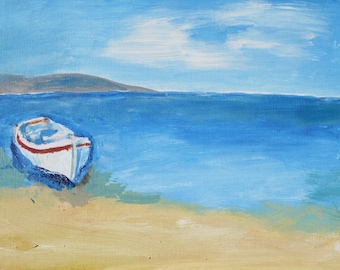 Oil painting of a Boat on the Shore