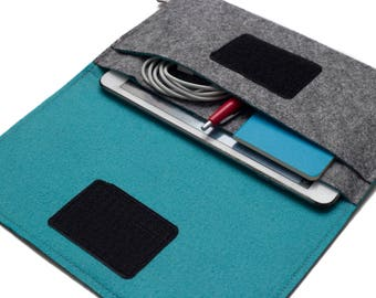 Handmade Organizer for iPad mini 4 , iPad mini 2 . iPad mini Case - Gray & Turquoise - Weird.Old.Snail