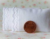 Dollhouse Miniature Set of 2 Soft White Bed Pillows with diamond scalloped trim - 1:12 scale