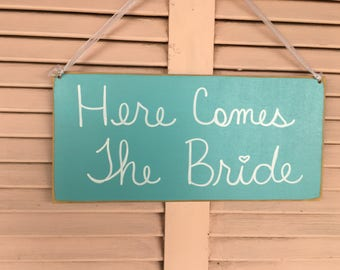 Turquoise and White Here Comes The Bride Sign, Wooden Ring Bearer Sign, Wedding Sign Decor