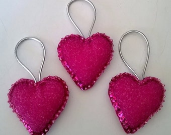 "Set of 3 Handmade PINK Sparkly  Felt and Sequin Heart Ornaments 2""x2"""