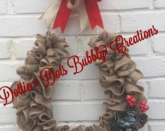 Burlap Horseshoe Wreath, Christmas Horseshoe, Horseshoe, Christmas Decor, Mule Days, Ruffle Wreath, Rustic Wreath