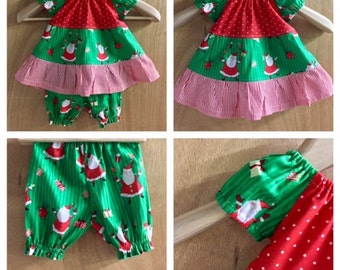 Infant Christmas Dress and Bloomers, size 3 months
