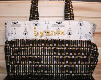 Diaper bag, handbag, purse, book bag..Black N gold arrows N Dots..With name. Customize to match your carseat canopy(see fashionfairytales).