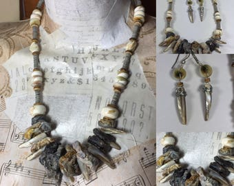 Summer Shell Beach Necklace, Oyster Shell Necklace, Mother of Pearl Necklace, Rustic Beach Jewelry
