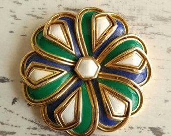 Vintage Enamel Flower Brooch Crown Trifari