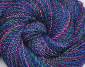 Handspun yarn - Hand painted Blue Faced Leicester (BFL) wool, DK weight, 330 yards - Lightning Opal