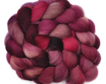 Hand painted roving - Corriedale Cross wool spinning fiber - 4.1 ounces -  Duty Calls 1