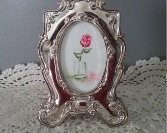 Watercolor Art Framed Single Rose in Vase Home Decor Wall Art Framed Original Hand painted vintage Frame