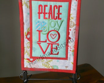 Peace Joy Love Mini Quilt Merry Christmas Red Blue Green