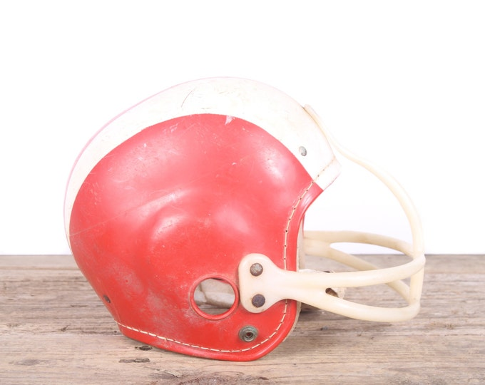 Vintage Football Helmet / Football Decor / Red White Helmet / Kids Hutch 647 Helmet / Game Room / Antique Football Helmet / Unique Mens Gift
