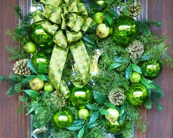Elegant CHRISTMAS Wreath in SHADES of GREEN with Green Harlequin Bow and Green Mercury Ball Ornaments