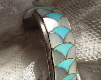 Large Signed ZUNI CHANNEL WORK Turquoise and Mother of Pearl Cuff