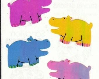 ON SALE Vintage Sandylion Pearl Finish Hippo Stickers - 80's Opal Rainbow