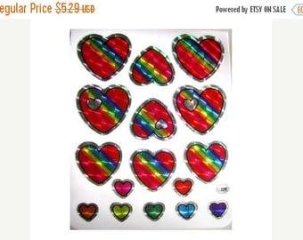 SALE Fabulous BJ Prismatic Rainbows Hearts Sheet of Vintage Stickers - Prism Retro Scrapbook Collage