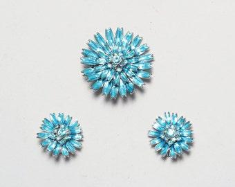 Pendant Brooch. Clip On Earrings. 1960s Jewelry Set. Aurora Borealis Rhinestone Jewelry. Blue Costume Jewelry. Flower Earrings. Demi-Parure.