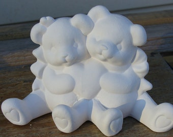 Ceramic BisqueValentine Cuddle Bears