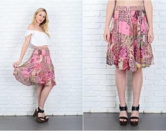 Vintage 90s Pink Patchwork Skirt Floral Paisley Full Geo Retro M L 9407