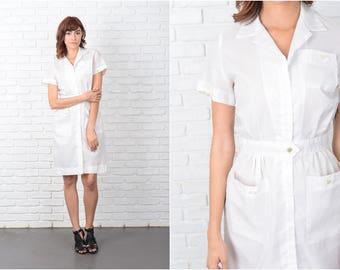 Vintage 50s 60s White Shirt Dress Sheer Mini Short Sleeve Small S 9540