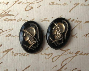 Vintage Glass Helmeted Warrior Cameo Cabochons Glass Black w/ Gold Japan 18x13mm Oval (2)