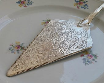 Wedding Cake Spatula, Vintage Pie Serving, Mid Century Silver Plate Big Cake Server, Collectible Victorian Dining Room Table Decor