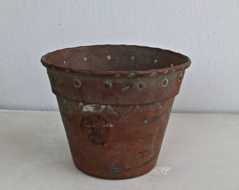 Patina Copper Plant Pot, Vintage Small Succulent Pot, Indoor Garden Decor, Rustic Farmhouse Metal Planter, Pencil Cup, Pen Holder