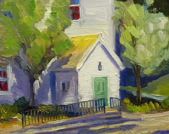 Sunday Morning Plein Air Small Landscape Oil Painting on Canvas