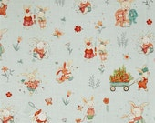 Bunny Main Scene on Blue From Studio E's Bunny Tale Collection by Lucie Crovatto