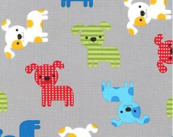 Bright (Primary) Puppies on Grey from Robert Kaufman's Urban Zoologie Collection by Ann Kelle