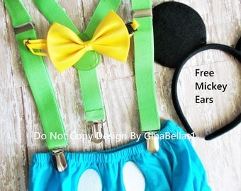 Mickey Mouse Birthday outfit costume cake smash suspenders baby blue clubhouse diaper cover bow tie optional Hat 12 18 24 toddler