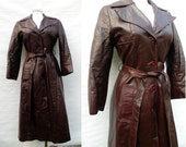 70s Burgundy Brown Leather Trench Coat Princess Coat  - S