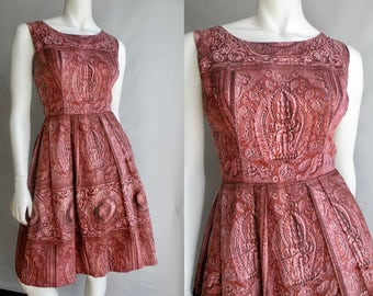50s Pink Cotton Party Dress with Crinoline and Indian God Pattern - S