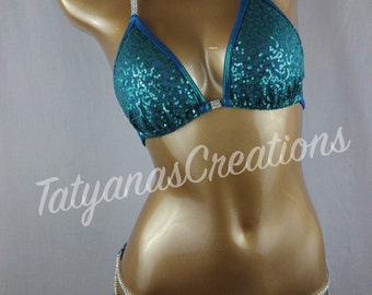In Stock : Dark Teal Sequined Competition Bikini C cup, XSmall Pro bottom.