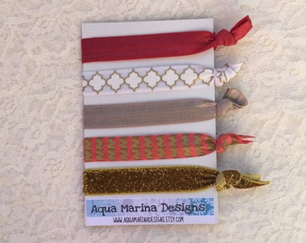 Elastic Hair Ties - Crimson Collection