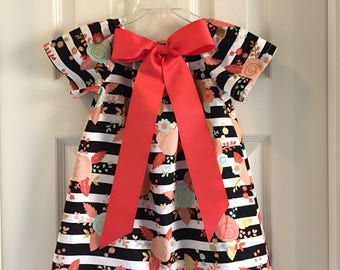 Striped Peasant Dress with Removable Bow