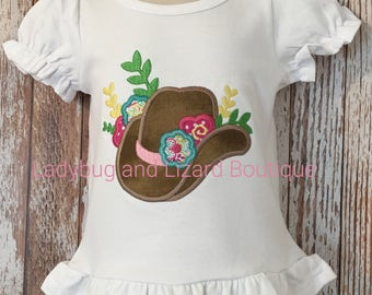 Girl's Cowboy Hat with Flowers Short Sleeve Ruffle Top with Monogram Sizes 12M-18M, 2T-5T, 6