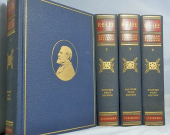 R. E. Lee 1946 A Biography Pulitzer Prize Edition by Freeman, Douglas Southall Charles Scribner's Sons Complete Set of 4 DanPickedMinerals
