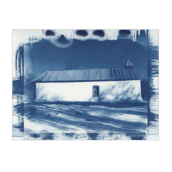 Landscape Photograph of New Mexico Old Adobe Church Blue & White Decor Fine Art Sun Print Cyanotype Architecture Alternative Process 6 x 8