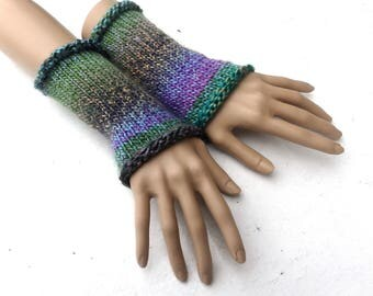 knit fingerless gloves, knitted wrist warmers,  knit colorful arm warmers, multicolor hand warmers, wrist cuffs, spring gloves, accessories