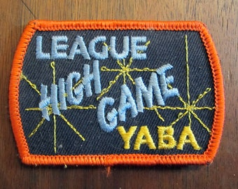 YABA (Young American Bowling Alliance) League High Game Award Patch Badge Orange Blue Yellow