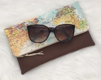 World map fold over clutch with faux leather bottom