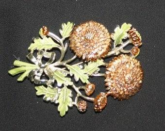 Vintage Sunflower Brooch, Enamel, Signed Exquisite