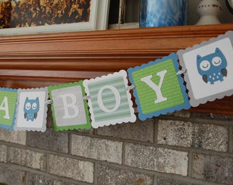 Owl It's A Boy Banner, You Select the COLORS, Owl Baby Shower Banner, Owl Theme, Owl Banner, Owl Sprinkle, Light grey, blue, lime, white.