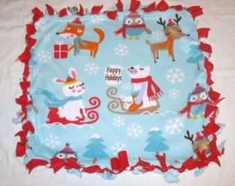 SALE Fleece Tie Pet Blanket for Cats or Small Dogs - Christmas Holiday Light Blue and Red Woodland Critters