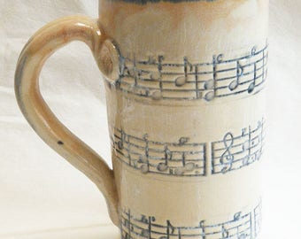 Stoneware music script 20oz coffee mug handmade ceramic 20D043